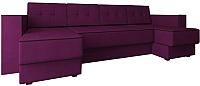 Диван П-образный Настоящая мебель Принстон НПБ вельвет (фиолетовый) -