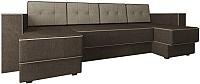 Диван П-образный Настоящая мебель Принстон НПБ рогожка (бежевый/коричневый) -