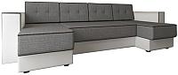 Диван П-образный Настоящая мебель Принстон НПБ рогожка/экокожа (серый/белый) -