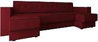 Диван П-образный Настоящая мебель Принстон НПБ вельвет (красный) -