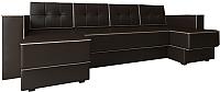 Диван П-образный Настоящая мебель Принстон НПБ экокожа (коричневый) -