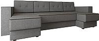 Диван П-образный Настоящая мебель Принстон НПБ рогожка (серый) -