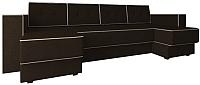 Диван П-образный Настоящая мебель Принстон НПБ вельвет (коричневый) -
