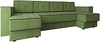 Диван П-образный Настоящая мебель Принстон НПБ вельвет (зеленый) -