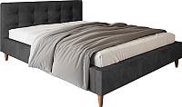 Двуспальная кровать Настоящая мебель Texas вельвет 160x200 (черный) -