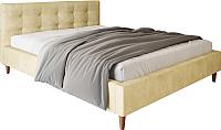 Двуспальная кровать Настоящая мебель Texas вельвет 160x200 (бежевый) -