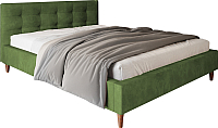 Двуспальная кровать Настоящая мебель Texas вельвет 160x200 (зеленый) -