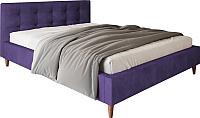 Двуспальная кровать Настоящая мебель Texas вельвет 160x200 (фиолетовый) -