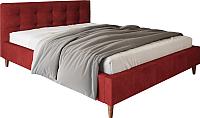 Двуспальная кровать Настоящая мебель Texas вельвет 160x200 (красный) -