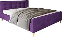 Двуспальная кровать Настоящая мебель Pinko вельвет 160x200 (фиолетовый) -