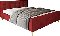 Двуспальная кровать Настоящая мебель Pinko вельвет 160x200 (красный) -