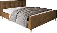 Двуспальная кровать Настоящая мебель Pinko вельвет 160x200 (коричневый) -