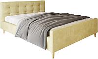 Двуспальная кровать Настоящая мебель Pinko вельвет 160x200 (бежевый) -