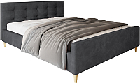 Двуспальная кровать Настоящая мебель Pinko вельвет 160x200 (черный) -