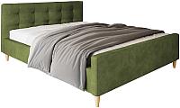 Двуспальная кровать Настоящая мебель Pinko вельвет 160x200 (зеленый) -
