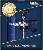 Набор косметики для бритья Gillette Станок Mach3+1 кассета+гель д/бр д/чув. кожи 75мл+дорожн. чехол -