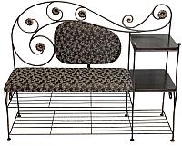 Банкетка Грифонсервис ПБ11 (черный в золоте/черный с рисунком) -