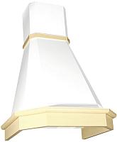 Вытяжка декоративная Elikor Камин Грань 60П-650-П3Л (бежевый/дуб белый/патина золото) -