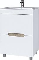 Тумба под умывальник Bliss Ниагара 620 / 0642.12 (белый/белый глянец/камень серый) -