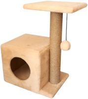 Комплекс для кошек Cat House С боковой полкой 0.58 (джут бежевый) -