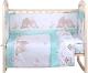 Комплект в кроватку Alis Любящие птенчики 6 (бязь, мятный) -