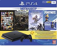 Игровая приставка Sony PlayStation 4 1TB + DG/GTA V/HZD CE/FT / PS719343400 (с подпиской на 3мес) -