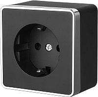 Розетка Werkel Gallant WL15-02-02 (черный/хром) -