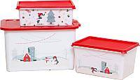 Набор контейнеров для хранения Berossi Christmas Б4 (3шт, роза) -