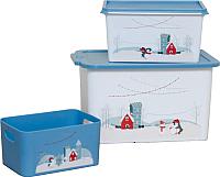 Набор контейнеров для хранения Berossi Christmas Б5 (3шт, васильковый) -