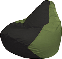 Бескаркасное кресло Flagman Груша Медиум Г1.1-399 (чёрный/оливковый) -