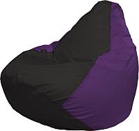 Бескаркасное кресло Flagman Груша Медиум Г1.1-406 (чёрный/фиолетовый) -