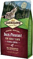Корм для кошек Carnilove Duck & Pheasant for Adult Cats Hairball Control / 512331 (6кг) -