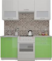 Готовая кухня ВерсоМебель ЭкоЛайт-5 1.6 (белый/яблоко) -