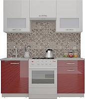 Готовая кухня ВерсоМебель ЭкоЛайт-5 1.6 (белый/темно-красный) -