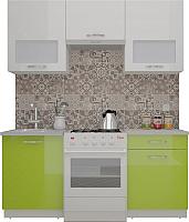 Готовая кухня ВерсоМебель ЭкоЛайт-5 1.6 (белый/лайм яркий) -