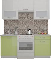 Готовая кухня ВерсоМебель ЭкоЛайт-5 1.6 (белый/нежно-зеленый) -