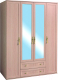 Шкаф Глазов Милана 1 4-х дверный (дуб отбеленный) -
