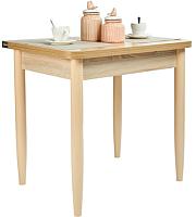 Обеденный стол Рамзес Ломберный ЛДСП 60x80 (дуб сонома светлый/ноги конусные слоновая кость) -