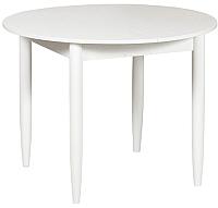 Обеденный стол Рамзес Раздвижной круглый ЛДСП 94-124х94 (белый текстурный/ноги конусные белые) -