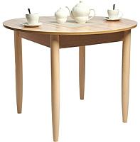 Обеденный стол Рамзес Раздвижной круглый ЛДСП 94-124х94 (дуб сонома светлый/ноги конусные слоновая кость) -
