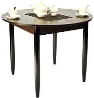 Обеденный стол Рамзес Раздвижной круглый ЛДСП 94-124х94 (дуб сонома темный/ноги конусные венге) -
