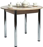 Обеденный стол Рамзес Раздвижной круглый ЛДСП 94-124х94 (шимо светлый/хром) -