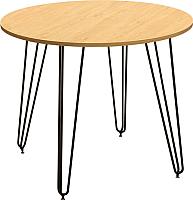 Обеденный стол Nowy Styl Aller Black H18 90x75 (дуб камен/черный) -