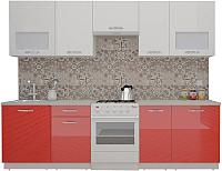 Готовая кухня ВерсоМебель ЭкоЛайт-5 2.8 (белый/красный) -