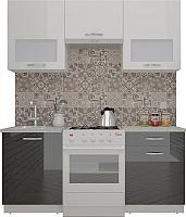 Готовая кухня ВерсоМебель ЭкоЛайт-6 1.7 (белый/черный графит) -
