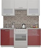 Готовая кухня ВерсоМебель ЭкоЛайт-6 1.7 (белый/рубиново-красный) -