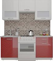 Готовая кухня ВерсоМебель ЭкоЛайт-6 1.7 (белый/бургундский дождь) -
