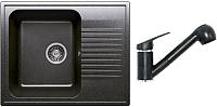 Мойка кухонная Polygran F-07 + смеситель Низкая лейка (черный) -