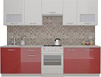 Готовая кухня ВерсоМебель ЭкоЛайт-6 2.8 (белый/бургундский дождь) -
