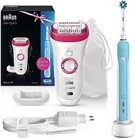 Эпилятор Braun Silk-Epil 9-521+электрич. зубная щетка Oral-B Pro 500/D16.513U -